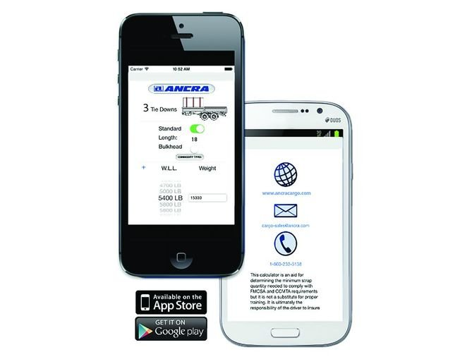 The Tie Down Calculator app from Ancra helps keep track of current requirements and standards and make it easy for drivers to reference numbers. - Photo: Ancra