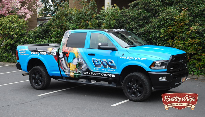 Pickup trucks are used for many vocational businesses and have plenty of space for graphics to advertise. 