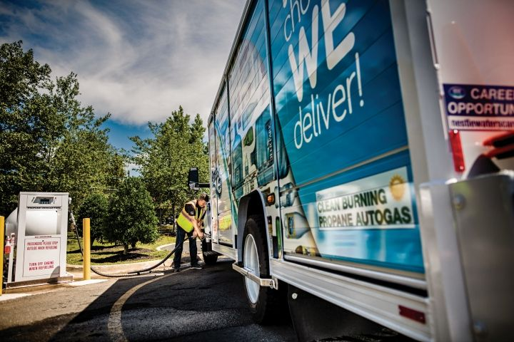 Propane autogas is widely available across the U.S. with a large network of propane retailers that can provide professional support for fleets. Photo courtesy of PERC