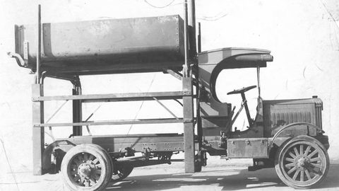 Truck upfitting has come a long way since this early dump truck model upfit from 1918. (Photo...