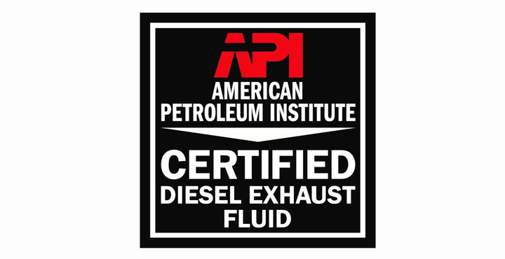 Make sure any diesel exhaust fluid you purchase is certified by the American Petroleum Institute by looking for this logo. 
