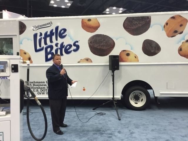 Todd Mouw, president of Roush CleanTech, speaks to media at The Work Truck Show 2016 about Bimbo Bakery's new propane autogas fleet. (Photo courtesy of Roush CleanTech)