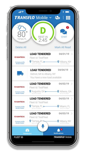 The Transflo Mobile+ app features anELD notification showing drive-time remaining.  - Imagecourtesy of Transflo