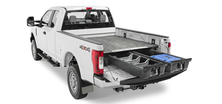 Constructed from rugged high-density polyethylene (HDPE), drivers get ergonomic access to tools and equipment while maintaining full use of the pickup truck bed's footprint. Storage is customizable, and once assembled the system can be installed and removed with no drilling or truck bed alterations.