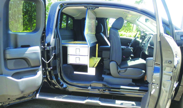 Masterack's new rear-seat packages recently designed for the Nissan Titan King Cab with rear-seat delete allow convenient storage inside the truck cab. The packages add more organization and ease of access to tools and equipment.  - Photo courtesy of Masterack