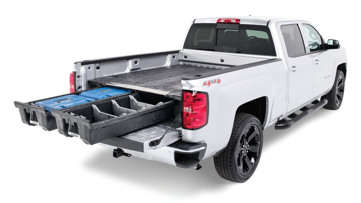 DECKED's low-profile truck bed tool box system is compatible with Ford F-150, Ford F-250, Ram 1500, Ram 2500, Chevrolet Silverado, GMC Sierra, Toyota Tundra, and Nissan Titan pickup trucks along with the Ford Transit, Ram ProMaster, Chevrolet Express, GMC Savana, Mercedes-Benz Sprinter, and Nissan NV van models. The ergonomic toolbox slides out tools, gear, and other items in heavy-duty drawers at waist height while still allowing the owner full use of their truck or van bed. DECKED Storage Systems are easy to install or remove, weatherproof, secure, ergonomic, and made in the USA.