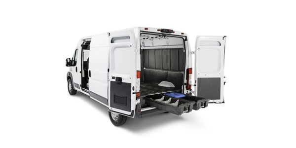 The DECKED system weighs only 220 pounds and attaches to the van bed. It features two...