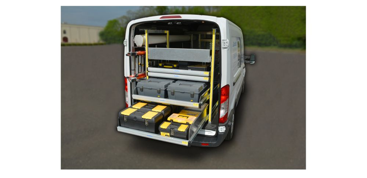 Durarac for full-size vans and the mid-size van version Katerack from Dejana are van storage systems that allow the tool and material shelves to extend all the way outside of the van, within easy reach of the operator.  - Photo courtesy of Dejana