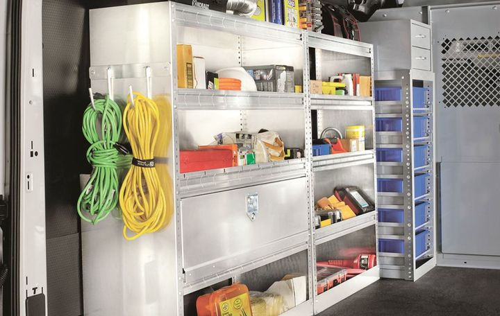 Safe Fleet's American Van brand offers interior storage solutions for work vans, which can include shelving, drawers, and removable bins.