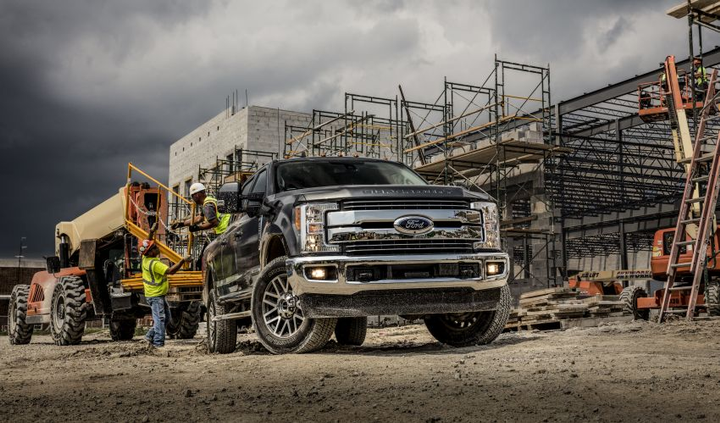 The 2019 Super Duty F-350 (pictured) features a high-strength steel frame and aluminum-alloy body.