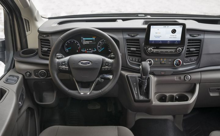 The Transit's center stack can be optioned two ways — a 4-inch or 8-inch slim line touchscreen display.  - Photo: Ford Motor Co.