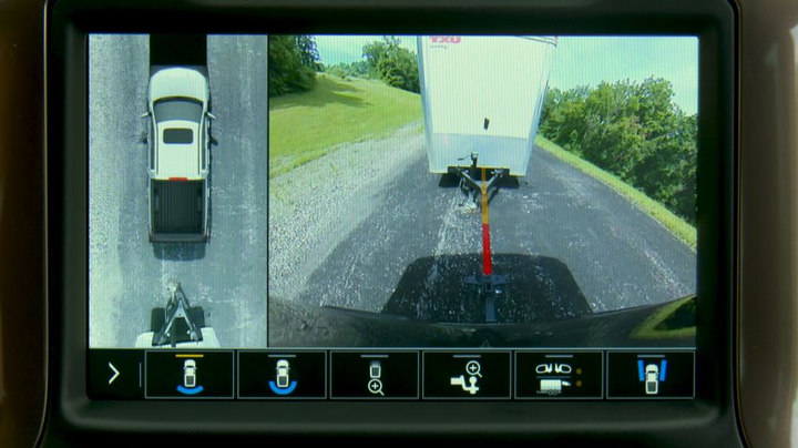 Part of the brand-new Advanced Trailering System, Hitch Guidance with Hitch View adds dynamic backing guidelines to the rear vision camera system to help a fleet driver line up a hitch.  - Photo courtesy of General Motors