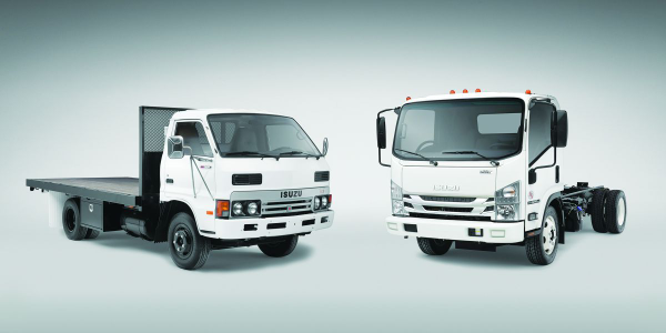 Isuzu launched the new Class 5 NPR-HD (right) 35 years after the original KS-22 debuted.