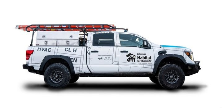 Nissan custom-built and donated this Ultimate Work TITAN to Habitat for Humanity. Designed with feedback from construction site supervisors, the truck is off-road-capable with a mobile office inside and easy-to-access tools and equipment in the bed.