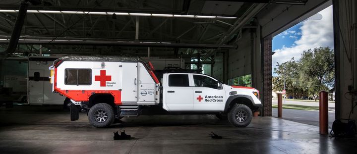 Nissan created a one-of-a-kind service truck: a mobile command center and first aid unit which will be used by the American Red Cross.