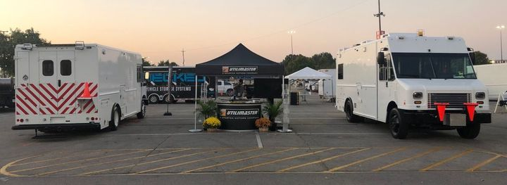 At the 2019 International Utility and Construction Equipment Exposition (ICUEE), Utilimaster displayed customized walk-in vans for DTE Energy (left) and Pepco (right). - ​Photo courtesy of Utilimaster