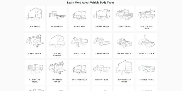 Buyers can search truck inventory by vocation, body type, and more.