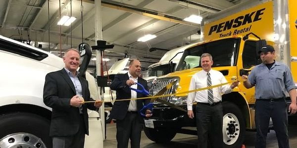 (L-R) Penske Truck Leasing's Jeff Schoen, area vice president; Joe Felty, district manager; Doug...
