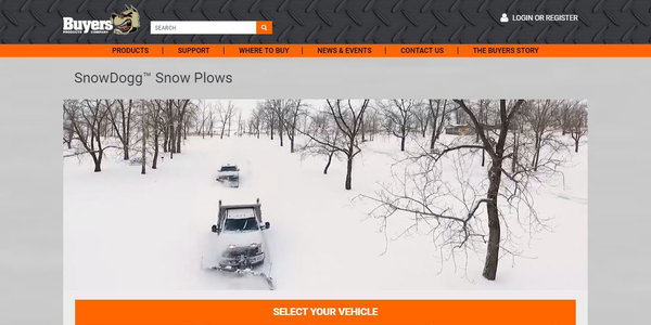 The redesigned site helps users find the right plow for their vehicle.