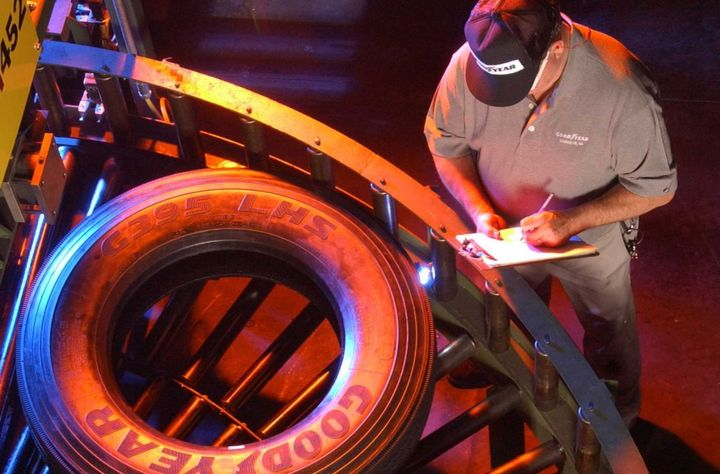A Goodyear Tire & Rubber Company associate keeps a watchful eye on truck tires traveling through the company's Danville, Virginia manufacturing plant as they head toward inspection. - Photo: Goodyear