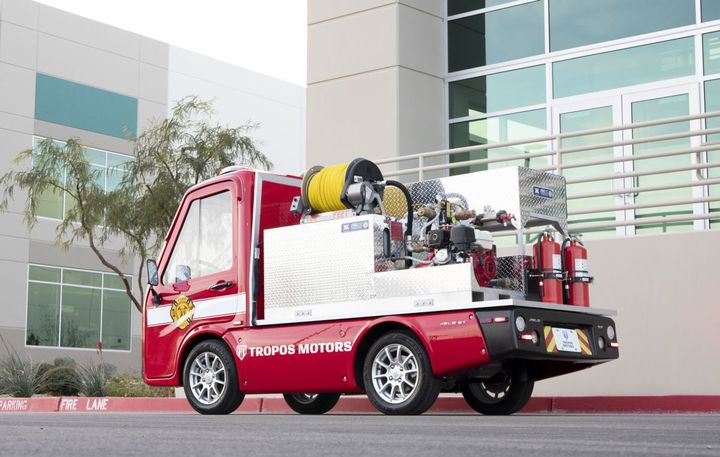 The Tropos Motors' right-sized firetruck is outfitted with a rugged Panasonic TOUGHBOOKTM FZ-G1 Tablet to track or receive emergency information.  - Photo: Panasonic
