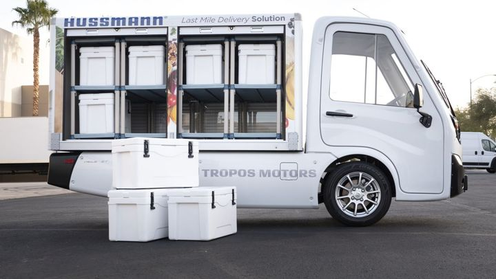 Connected Last Mile Refrigeration Cargo is the second production concept on the exhibit floor showing a Tropos Motors' right-sized Hussmann cold chain cargo truck outfitted with small compartment RADBD Vacuum Insulation Panel (VIP) insulated coolers.  - Photo: Panasonic