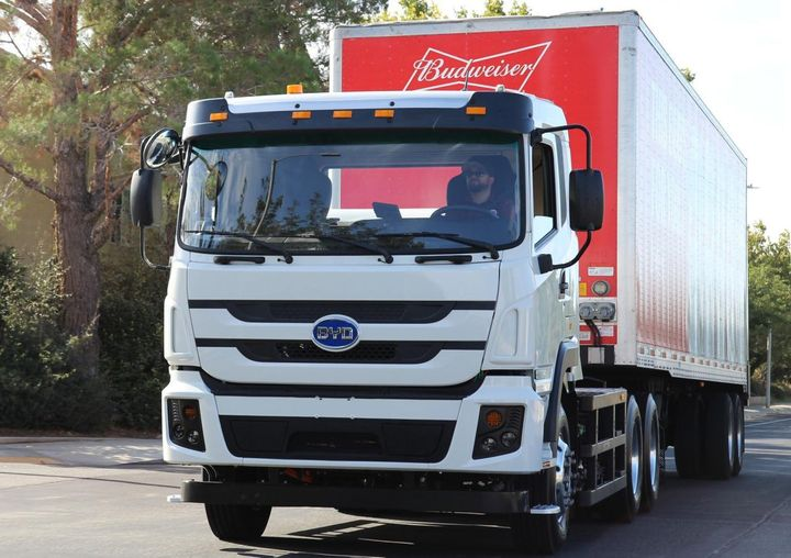 The 100th truck will go to work delivering beverages for Anheuser-Busch around the San Francisco Bay area to retail accounts such as grocery and convenience stores on a daily basis. - Photo: BYD