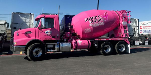 The Volvo VHD 300 mixer, part of a fundraising campaign for breast cancer research, will be the...