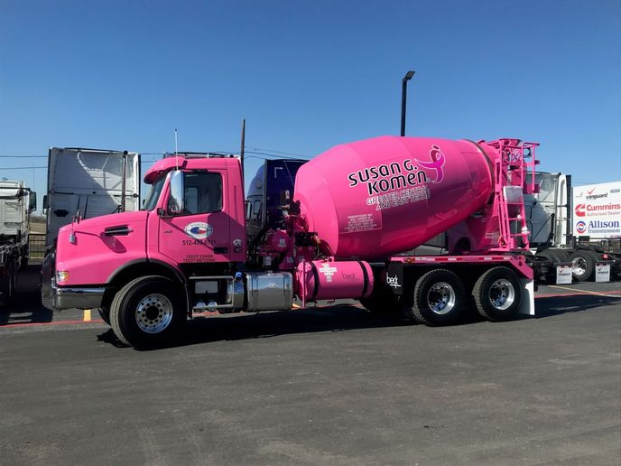 The Volvo VHD 300 mixer, part of a fundraising campaign for breast cancer research, will be the featured attraction in the Volvo Trucks North America booth at the 2020 World of Concrete. - Photo: Volvo Trucks