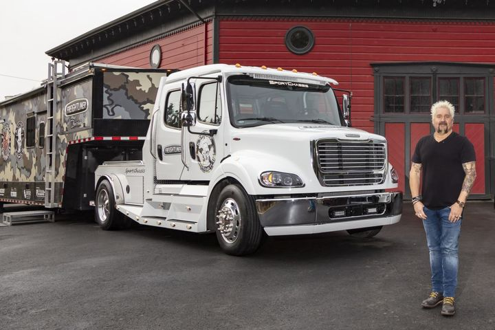 Guy Fieri shows off his customized SportChassis Freightliner M2 112. - Photo: Freightliner Trucks