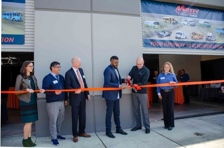 The ribbon-cutting ceremony took place on Thursday, February 13th and included Stockton Mayor Michael Tubbs along with Motiv customers, EV fleet managers, community stakeholders, and local business leaders. - Photo: Motiv Power Systems