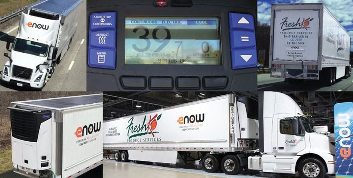 Developed in 2017, the solar-electric powered refrigeration system - brandedRayfrigeration– was azero-emissions, Transport Refrigeration Unit (TRU) on a truck making deliveries in an urban environment. - Photo: eNow