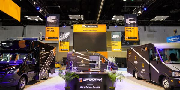 At The Work Truck Show, Utilimaster is exhibiting the new Velocity M3 as well as its Reach EV.