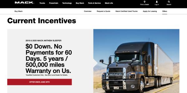 马克卡车公司和沃尔沃金融服务公司已扩大了其当前的特殊财务优惠