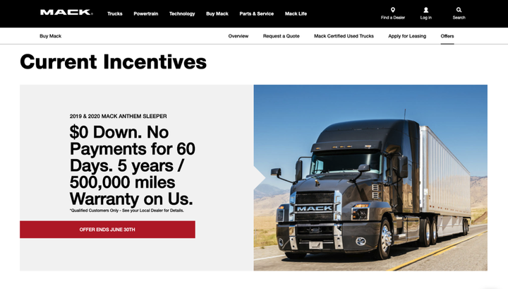 Mack Trucks and Volvo Financial Services have extended their current, special finance offers amid COVID-19. - Photo: Mack Trucks