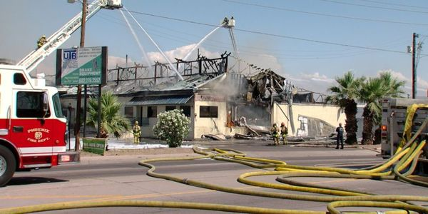 The fire destroyed Drake Equipment's offices, showroom, and parts of its warehouse.