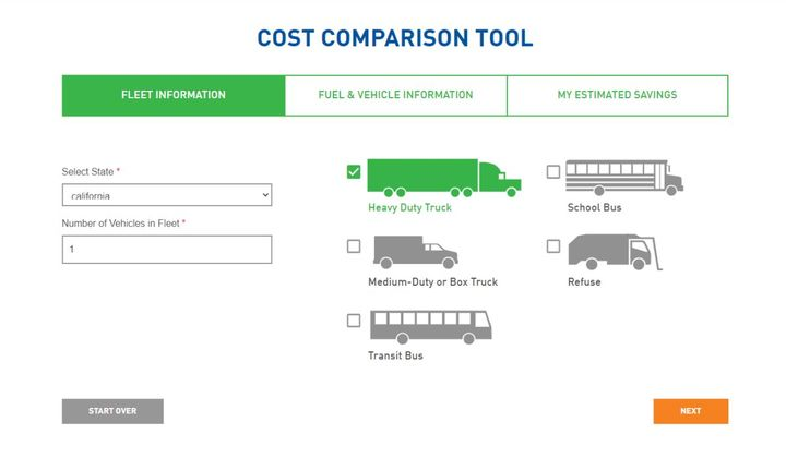 The tool compares the annual cost of running a diesel vehicle with a natural gas vehicle, and also shows the estimated annual fuel cost, savings per year, savings over five years, and savings per mile of operating a natural gas vehicle. - Source: Clean Energy