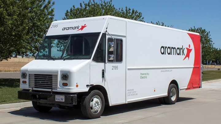 Aramark's Motiv-powered Step Vans have saved the company more than $100,000 in fuel and maintenance costs and are currently operating at a 99% uptime.  - Photo: Motiv Power Systems