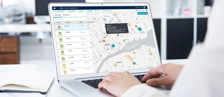 Through Ford Telematics, commercial vehicle customers can monitor their fleets with GPS tracking and geofencing and get live vehicle health alerts to plan and limit downtime. - Photo: Ford