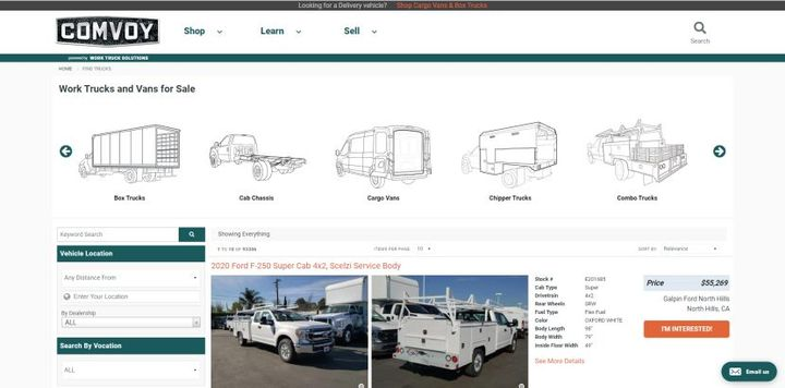 NTEA upfitters will also have their own inventory listed on Comvoy.com, acommercial vehicle marketplace, for free. - Image: Comvoy