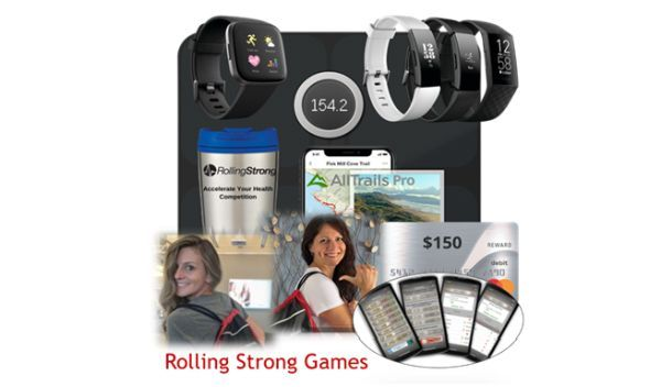 Points are accumulated by participating in weekly Rolling Strong coaching and HIGI health assessments as well as logging hydration, sleep, nutrition, and fitness activities -