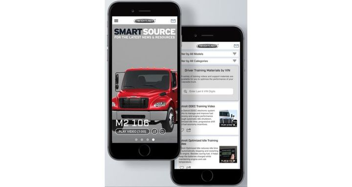 The Smart Source app helps drivers stay connected with Freightliner for up-to-date product news, training videos, and support information. - Photo: Freightliner