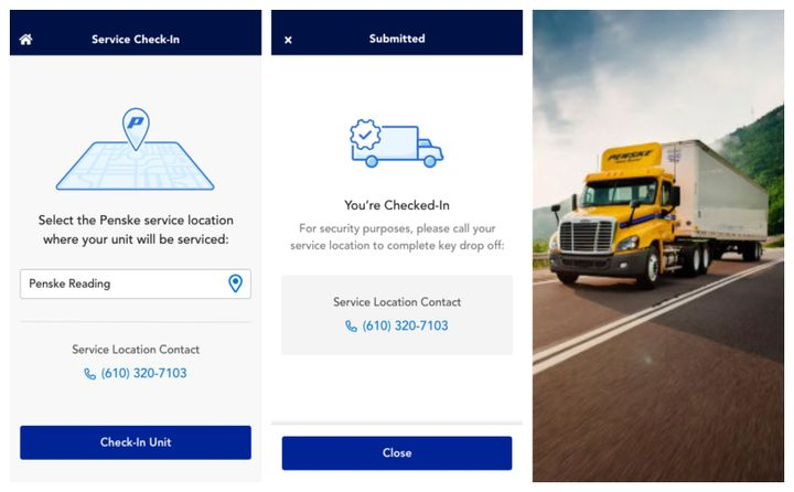 The free Penske Driver app is an all-in one solution developed by Penske Truck Leasing for its full-service truck leasing, contract maintenance, and commercial truck rental customers. - Photo: Penske Truck Leasing