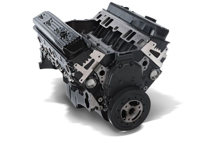 The new 350 service engine features brand-new four-bolt main blocks (not remanufactured) that are roller camshaft ready and mechanical fuel pump capable (Gen 1e has no camshaft eccentric). - Photo: GM