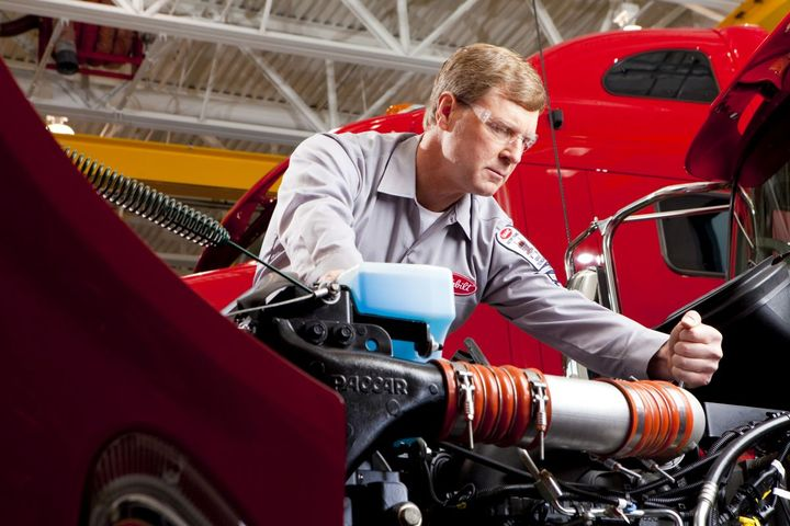 To attain Platinum Service Center status dealers must achieve high utilization of PACCAR Solutions Service Management, reduce overall dwell time for customer repairs, prioritize Peterbilt's RapidCheck triage service, and maintain exceptional parts availability. - Photo: Peterbilt
