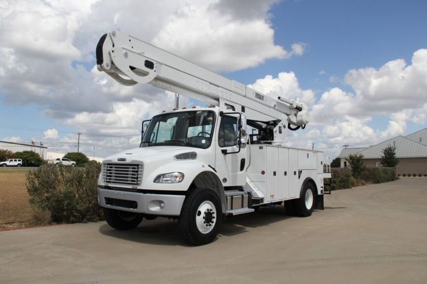The VN-555-MHI is one of the trucks donated to the utility technician training program.