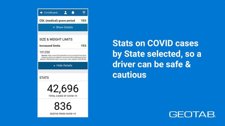 Based on the selected state and current COVID-related regulations, drivers can view business closures, social distancing guidelines, and certification updates.  - Photo: Geotab