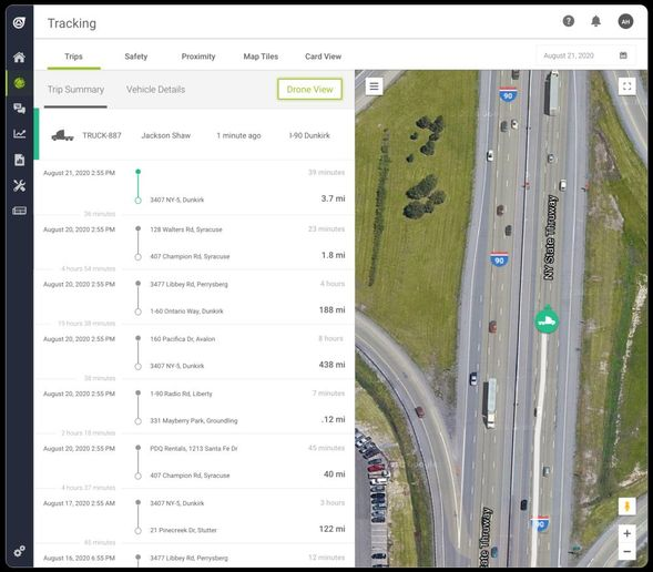 The Drone View function in TN360 allows you to launch a 'virtual drone' to follow a vehicle in real-time. Get immediate visibility into that vehicle's location and trip summary. - Image: Teletrac Navman