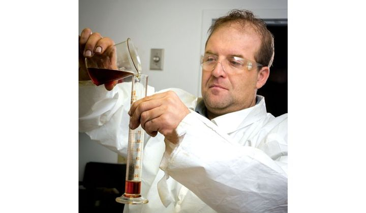 Kevin Adams, LSI Chemical VP of Research and Development tests new possibilities.  - Photo: LSI
