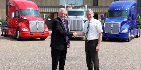 Jim Hartman (left) and Kyle Treadway,third generation Dealer Principal for Kenworth Sales...